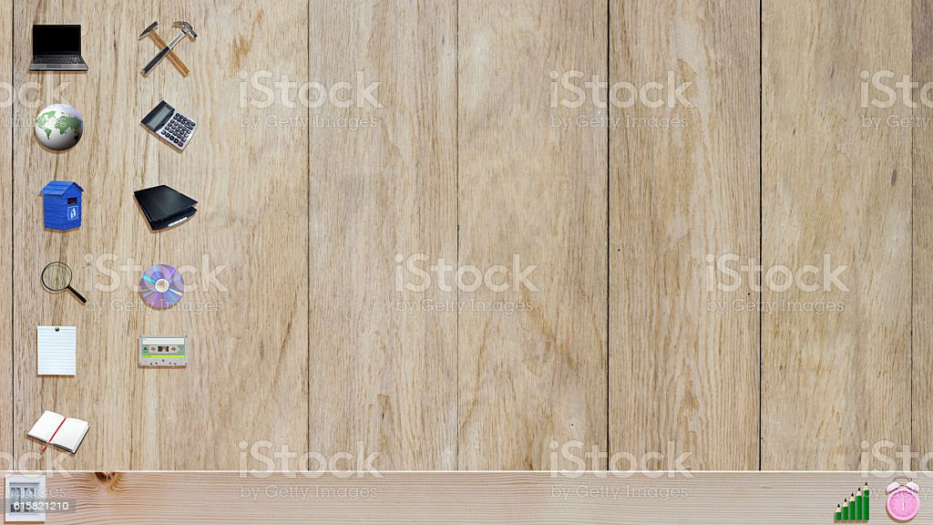 Office Material On Wooden Background Like A Desktop