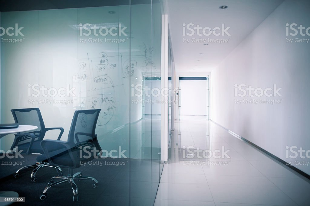 Office meeting room and hallway corridor stock photo
