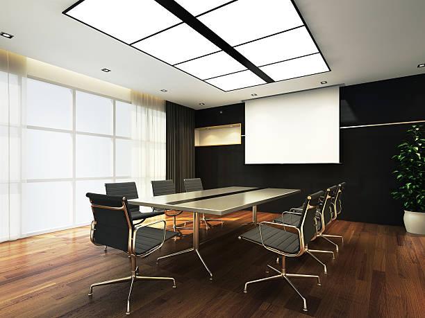 büro-meetingraum - tageslichtbeamer stock-fotos und bilder