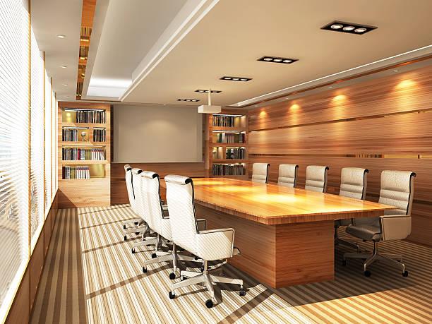 3 d büro meetingraum - tageslichtbeamer stock-fotos und bilder