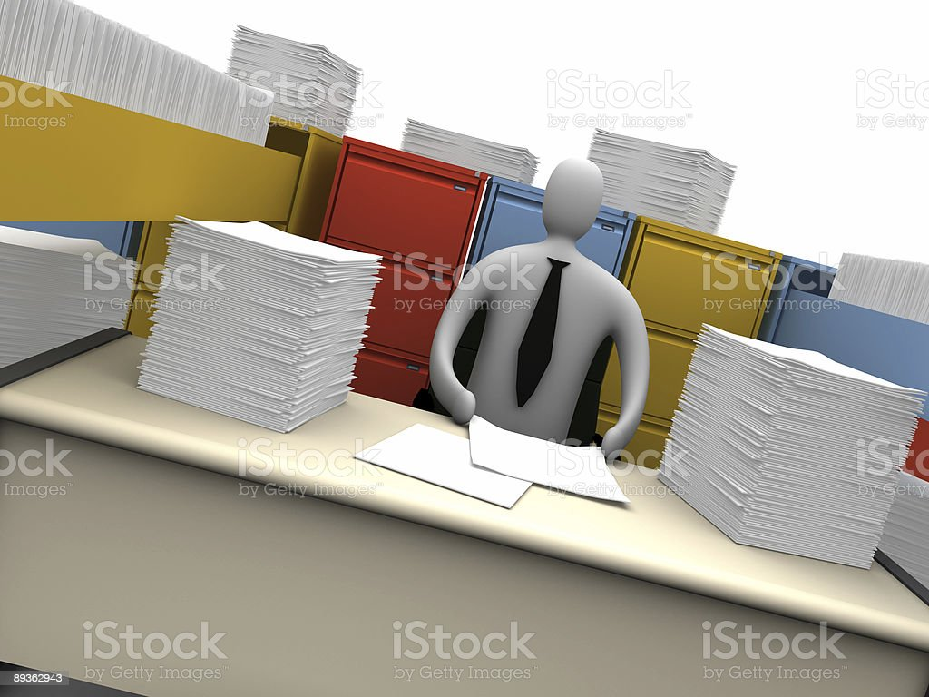 Office Moments - Endless Paperwork royaltyfri bildbanksbilder