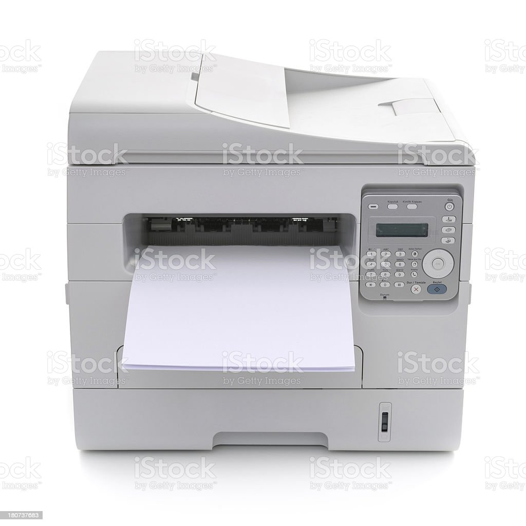 office multifunction printer isolated on white background royalty-free stock photo