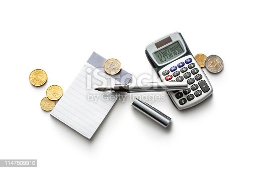 Office: Note Book, Calculator, Coins and Pen Isolated on White Background