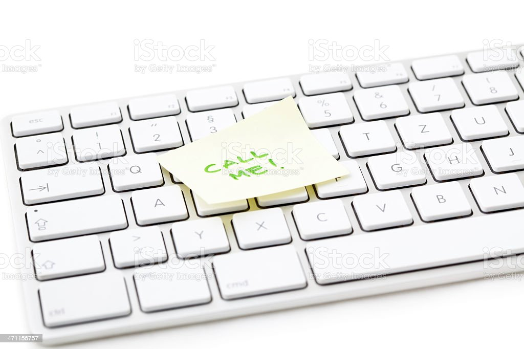 Office Note on Keyboard - Call me! royalty-free stock photo