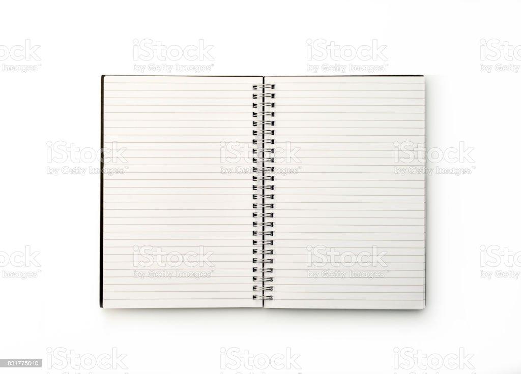Bureau: Notebook sur fond blanc - Photo