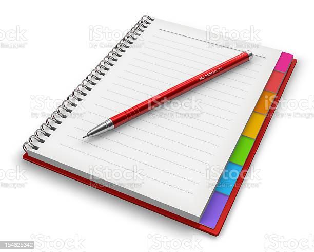 Oficina Bloc De Notas Con Bolígrafo Foto de stock y más banco de imágenes de Blanco - Color