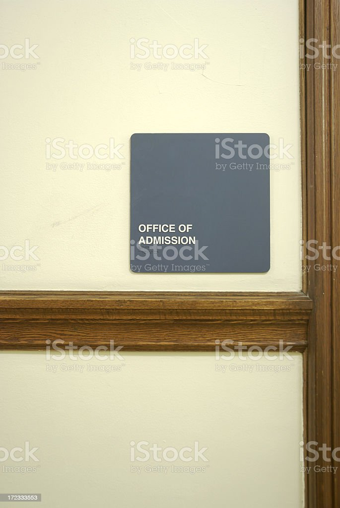 Office of Admission Sign on Wall stock photo