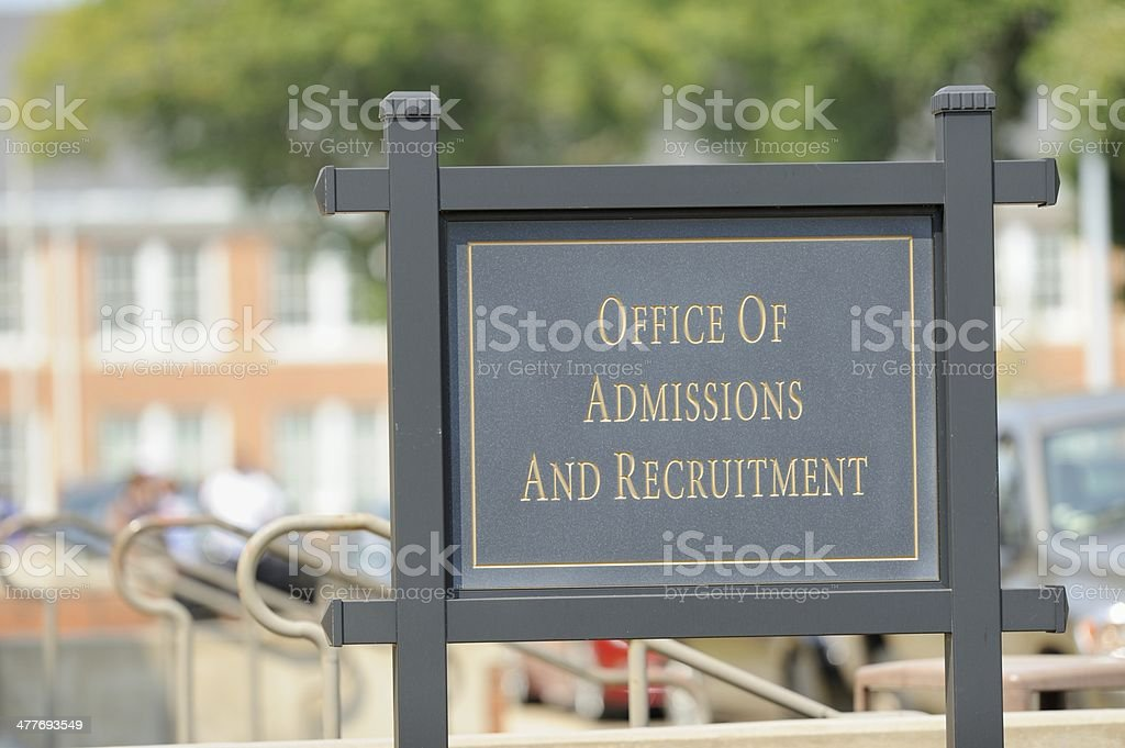Office of admissions and recruitment royalty-free stock photo