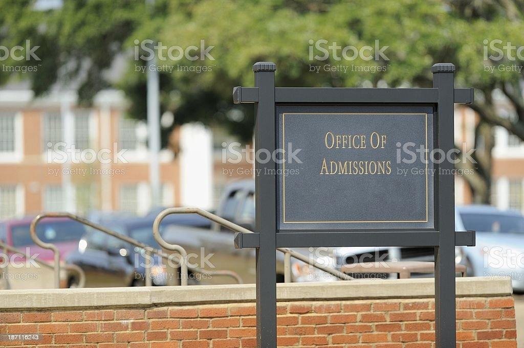 Office of Admissions royalty-free stock photo