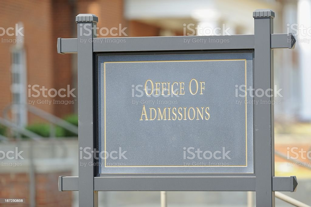 Office of admissions street sign stock photo