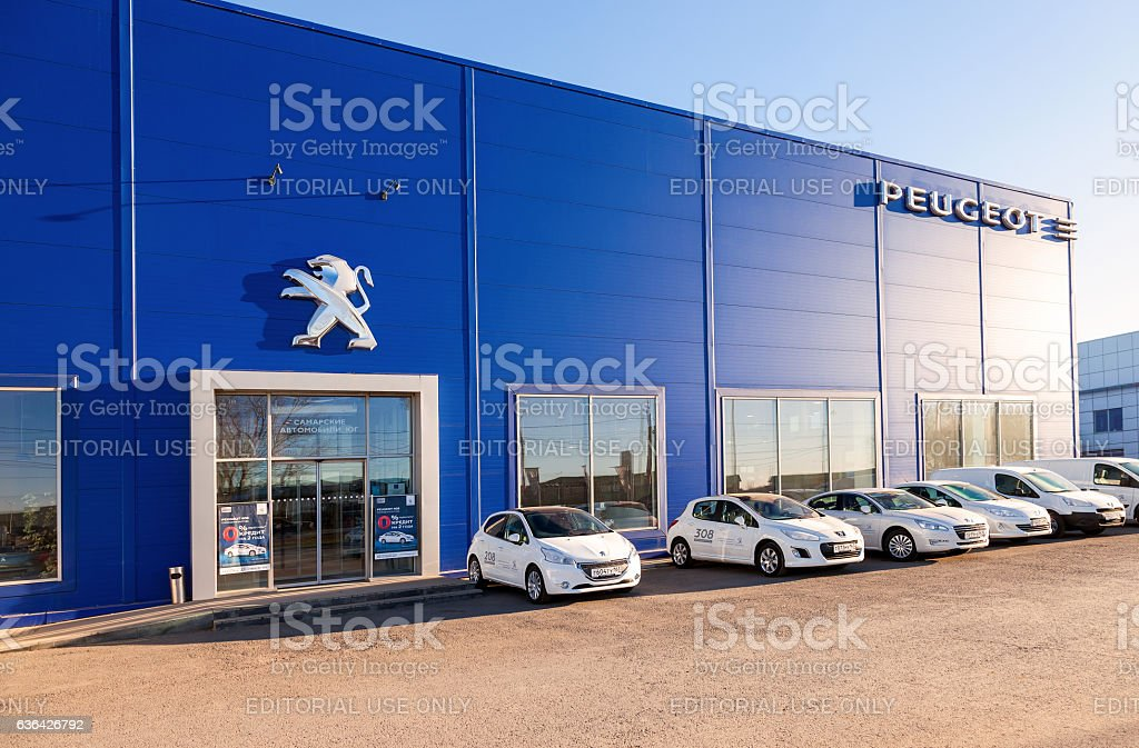 Office of official dealer Peugeot in Samara stock photo