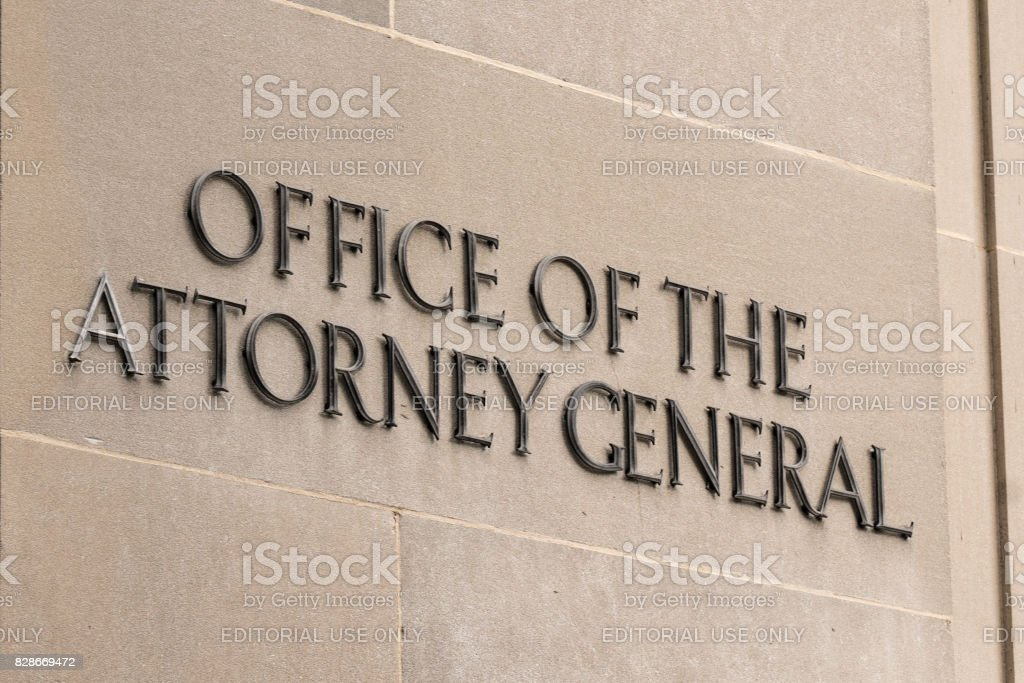 Office of the Attorney General Sign stock photo