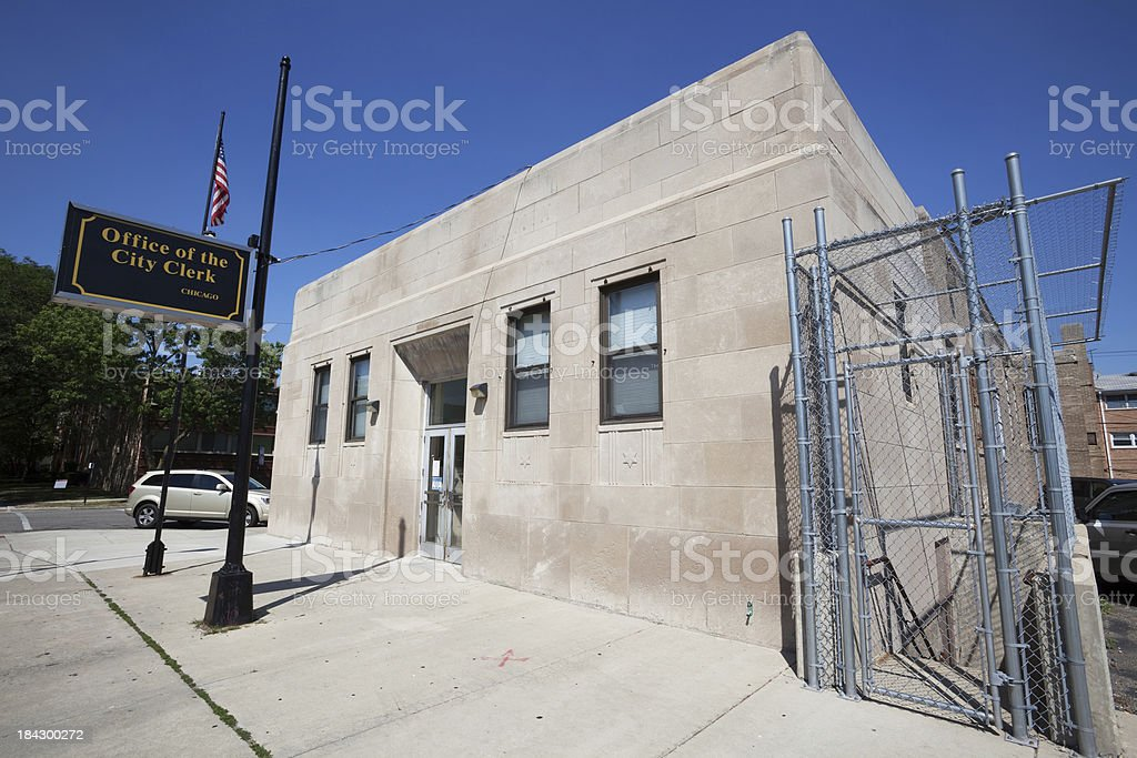 Office of the City Clerk in Jefferson Park, Chicago royalty-free stock photo