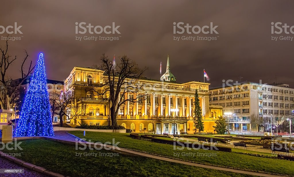 Office of the President of Serbia at night in Belgrade stock photo