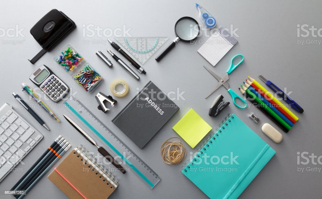Office: Office Supplies Still Life stock photo