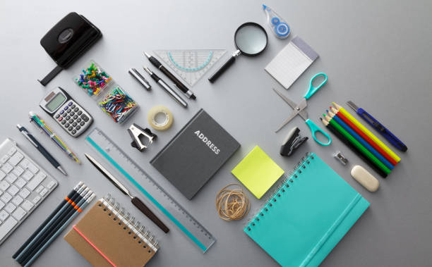 office: office supplies still life - stationary stock photos and pictures