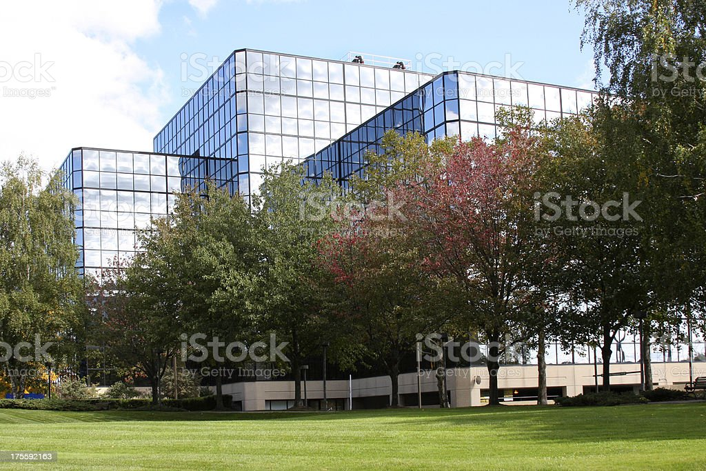 Office or medical building exterior with lawn stock photo