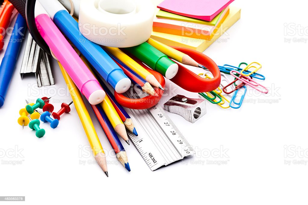 office or school supplies on white background stock photo