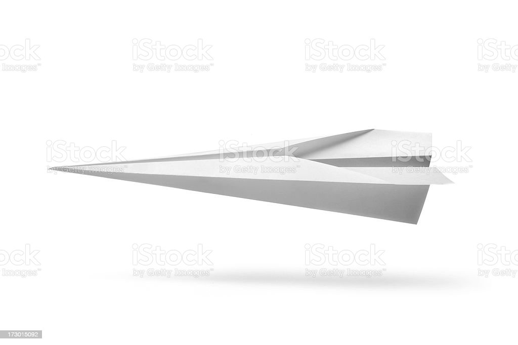 Office: Paper Airplane Isolated on White Background stock photo