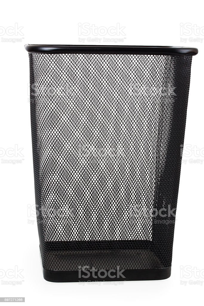 Office paper black empty trash bin photo libre de droits