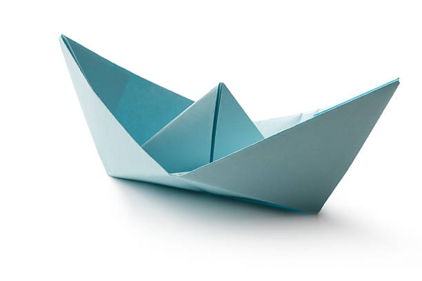Office: Paper Boat Isolated on White Background stock photo