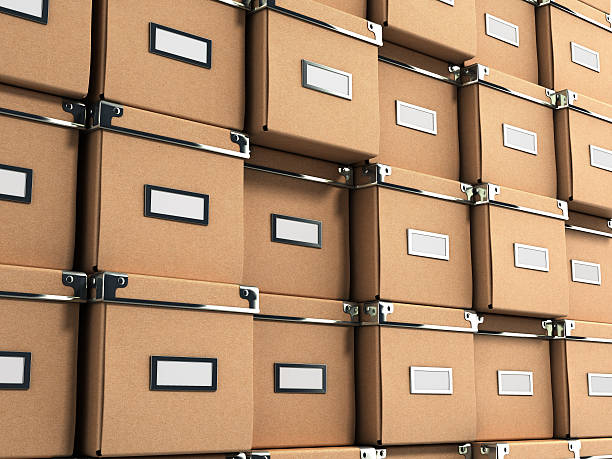 Office paper box for documents as background 3d illustration on - foto de acervo
