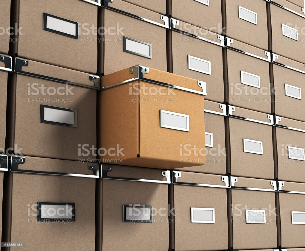 Office paper box for documents as background 3d illustration stock photo