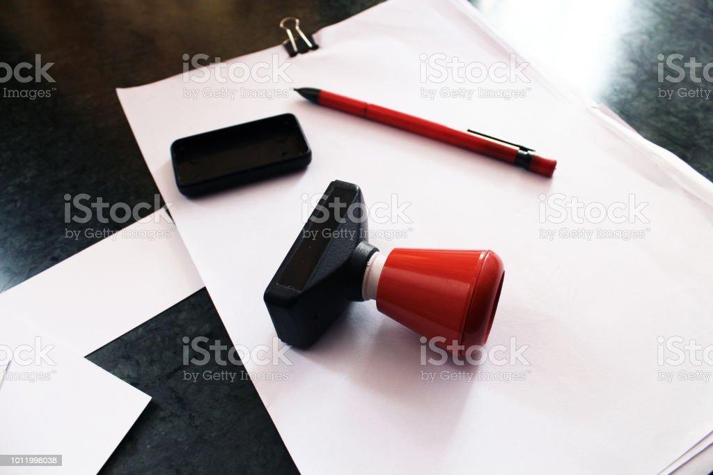 Büro Papier Dokument Stempel Mit Visitenkarten Papiere Und