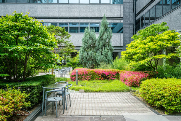 Office Park in Japan Office Park in Japan courtyard stock pictures, royalty-free photos & images