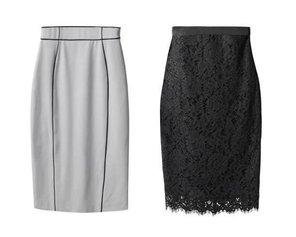 2 office pencil business skirt s with black lace and gray cotton isolated on white - spódnica zdjęcia i obrazy z banku zdjęć