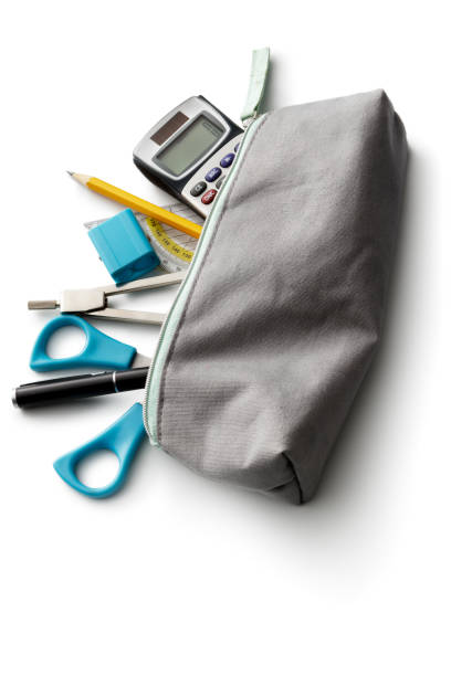 Office: Pencil Case and School Supplies Isolated on White Background - foto stock
