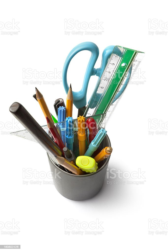 Office: Pencil Holder with Contents royalty-free stock photo