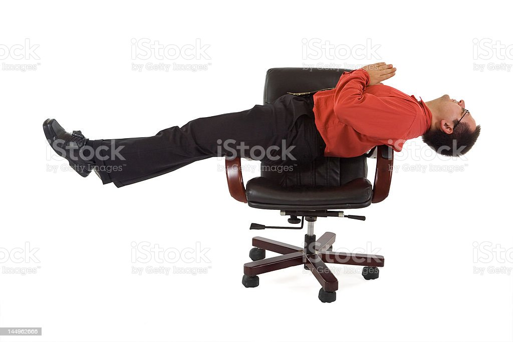 Office relaxation yoga position royalty-free stock photo