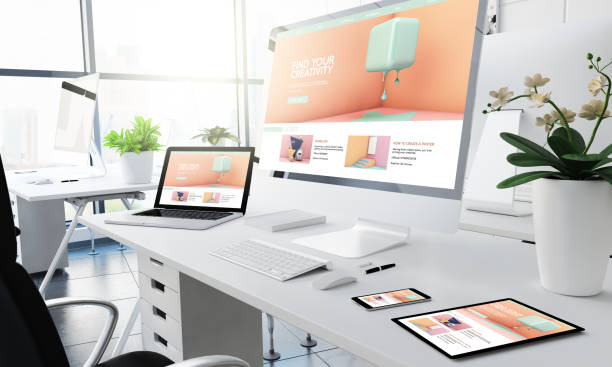 office responsive devices creativity tutorials office responsive devices creativity tutorials 3d rendering web design stock pictures, royalty-free photos & images