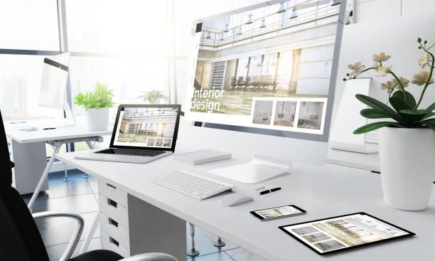 oficina diseño de interiores de dispositivos sensibles - website design fotografías e imágenes de stock