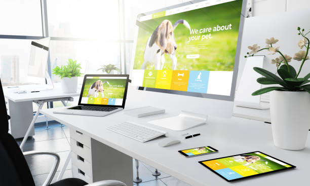 office responsive devices pet website stock photo