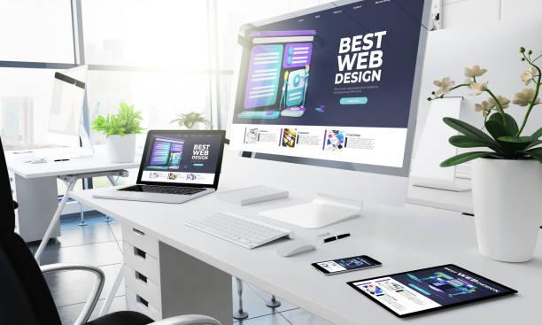office responsive devices web design website stock photo