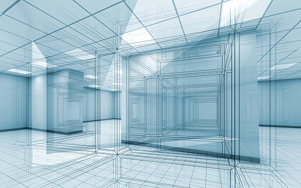 Office room interior background with wire-frame lines stock photo