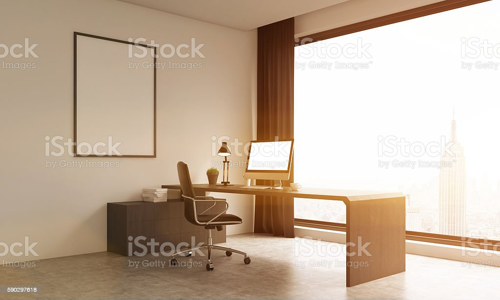 Office room with large window and poster on wall royaltyfri bildbanksbilder