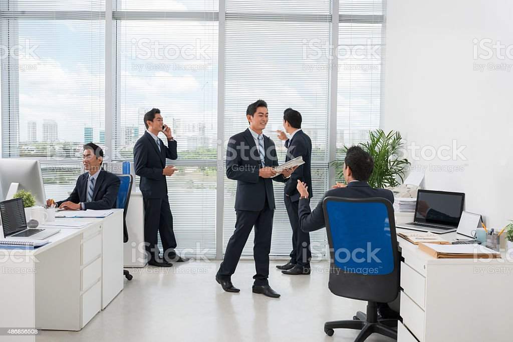Office routine stock photo
