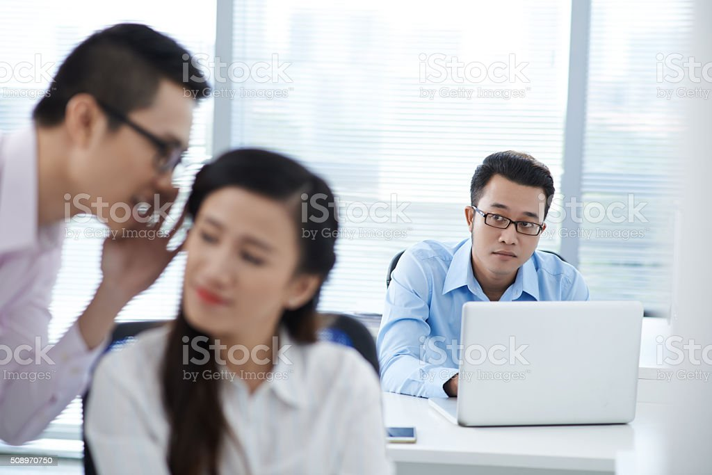 Office rumors stock photo