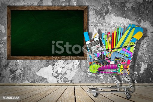 istock office / school supplies in shopping cart 508953358