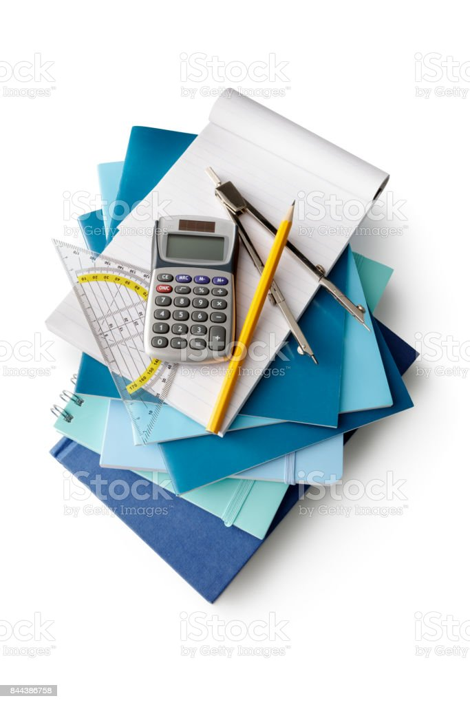 Office: School Supplies Isolated on White Background stock photo