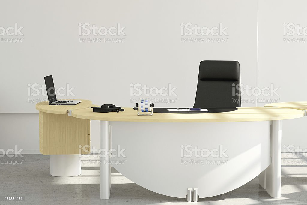 Office set with chair and laptop stock photo