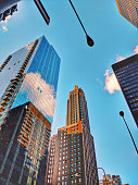 Office Skyscrapers in Chicago, USA, Reflection of the sky in glass buildings.