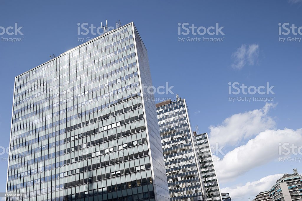 Office skyscrapers in Stockholm, Sweden. stock photo