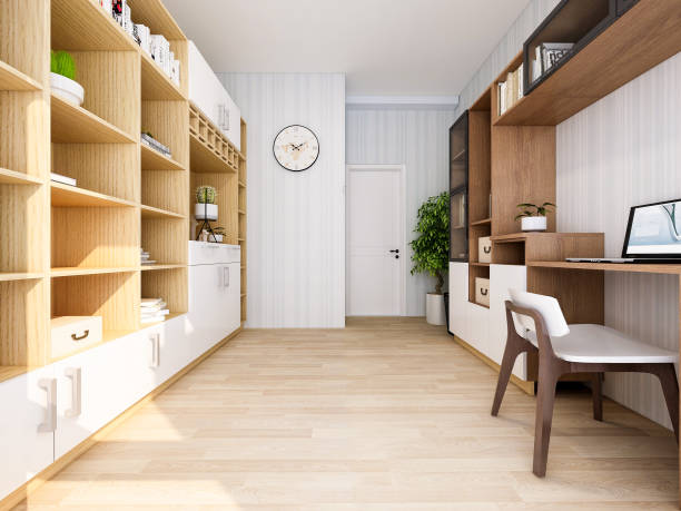 kantoor studie ontwerp van moderne residentiële gebouwen - plank meubels stockfoto's en -beelden
