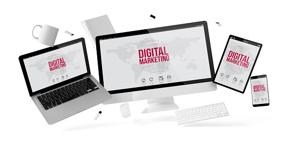 istock office stuff and devices floating with digital marketing 1041015662