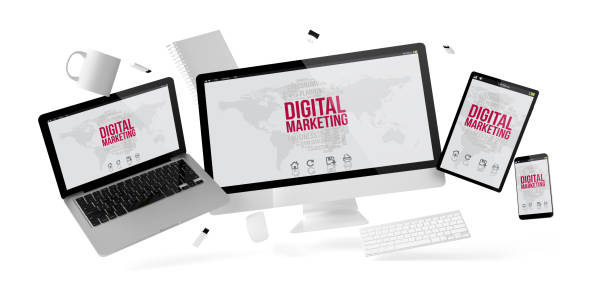 office stuff and devices floating with digital marketing - micrografia elettronica a scansione foto e immagini stock
