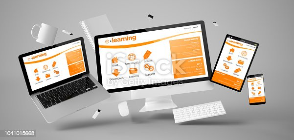 istock office stuff and devices floating with e-learning platform 1041015668
